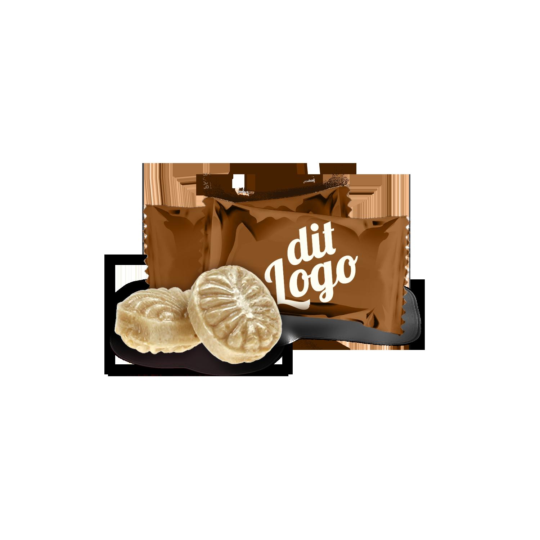 Bolsjer i flowpack med dit logo på folien - SKUUB
