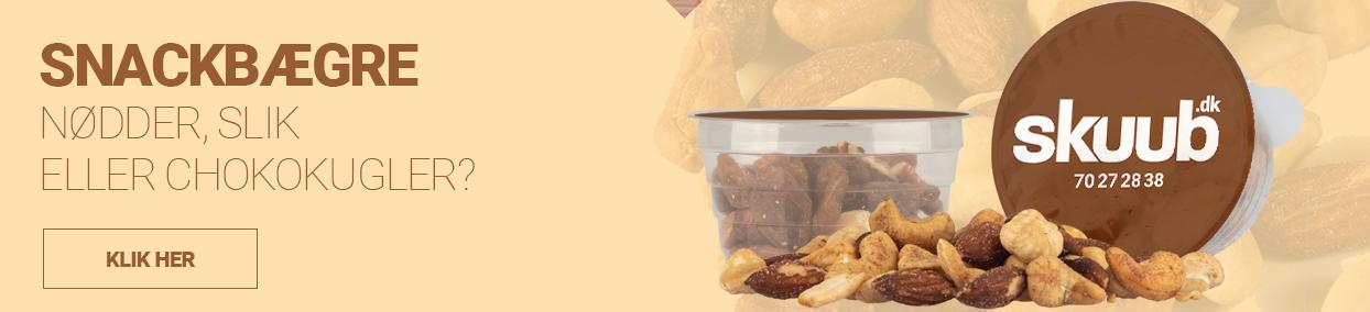 Snacks i poser eller bægre - Chips, nødder, slik, chokolade - med din reklame