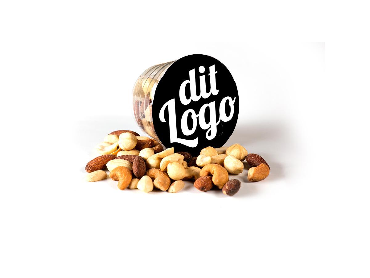 Snackbægre med dit logo på låget - nødder, vingummi, lakrids, chokolade m.m. SKUUB.dk